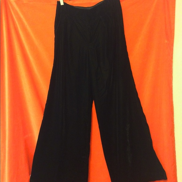 Badgley Mischka Wide Leg Dress Pants Blk Velvet 10